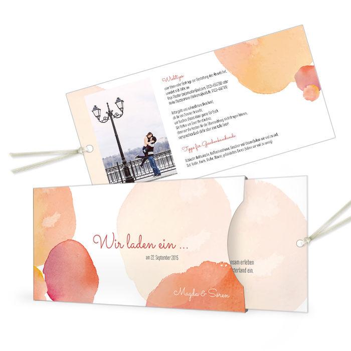 Hochzeitseinladung im roten Wasserfarbenstil als Einsteckkarte