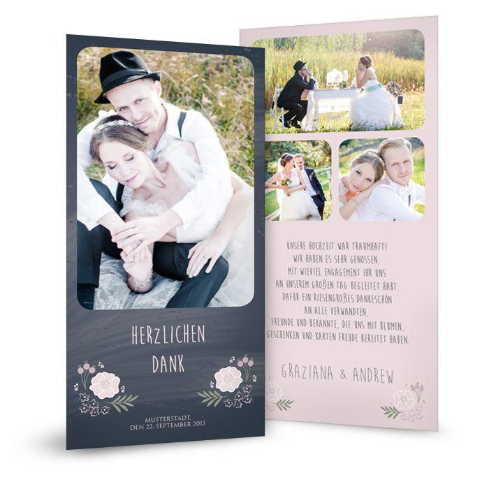 Super Vintage Danksagungskarte zur Hochzeit in Schieferoptik   Cariñokarten @BB_38