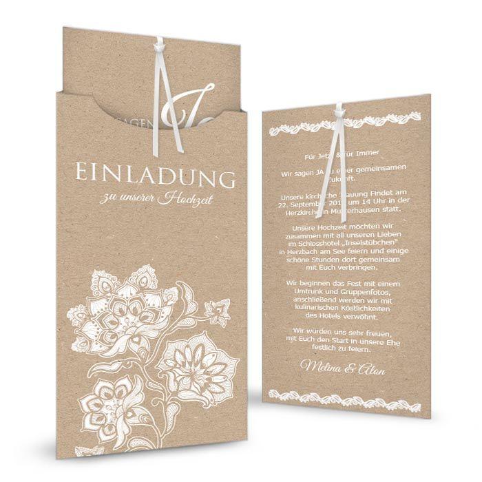 Florale Einsteckkarte Als Hochzeiteinladung Im Kraftpapierstil    Cariñokarten