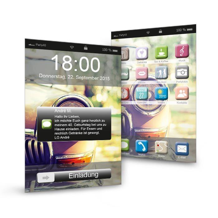 geburtstagseinladung im modernen smartphone design. Black Bedroom Furniture Sets. Home Design Ideas