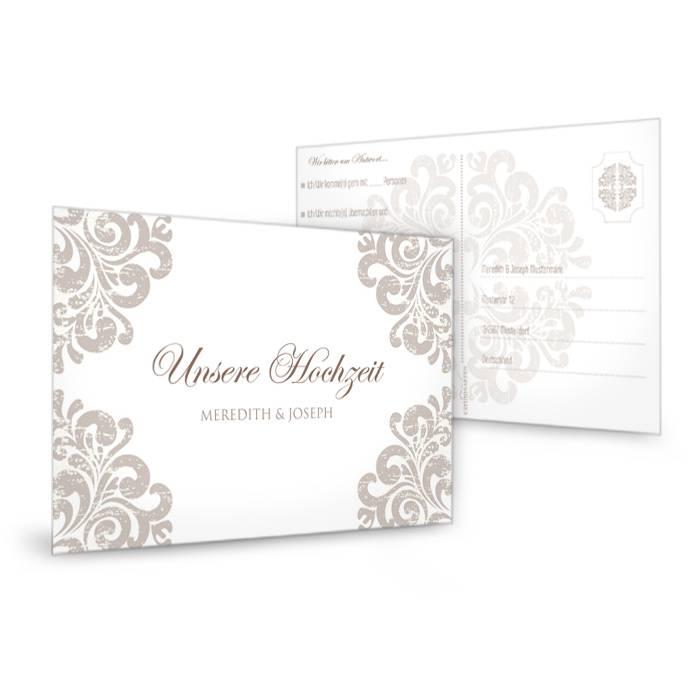 Elegante antwortkarte zur hochzeit mit barockem muster for Elegante damenmode fa r hochzeit