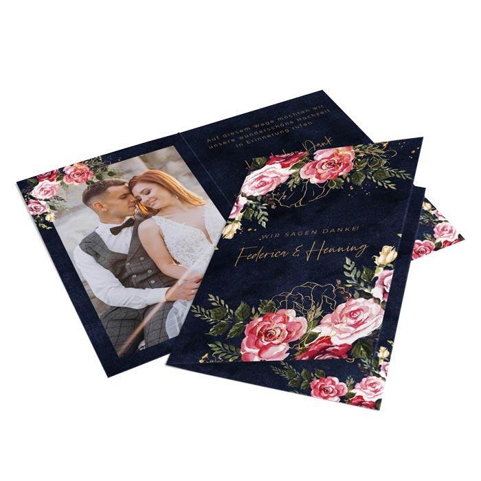 Außergewöhnliche Danksagungskarte zur Hochzeit mit pinkfarbenen Aquarellblumen