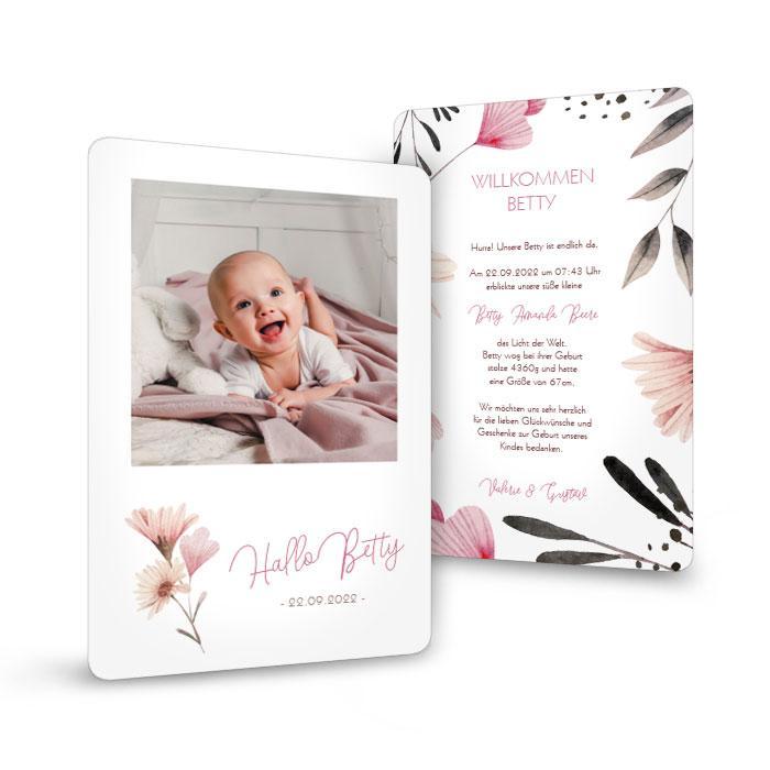 Blumige Babykarte zur Geburt mit abgerundeten Ecken