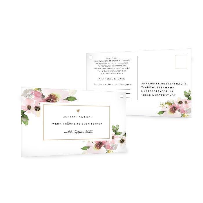 Ballonkarte mit Aquarellblumen in Rosa