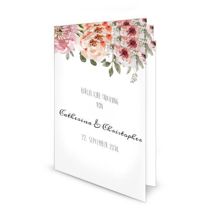 Kirchenheft Mit Aquarellblumen Zur Vintage Hochzeit Carinokarten