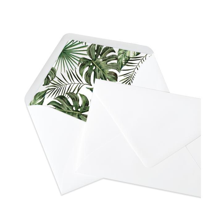 Briefumschlag Innenfutter bedruckt mit Greenery Leaves - Weiss