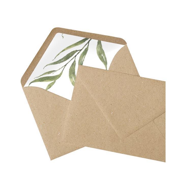 Briefumschlag Innenfutter mit greenery Aquarellzweig - Kraftpapier