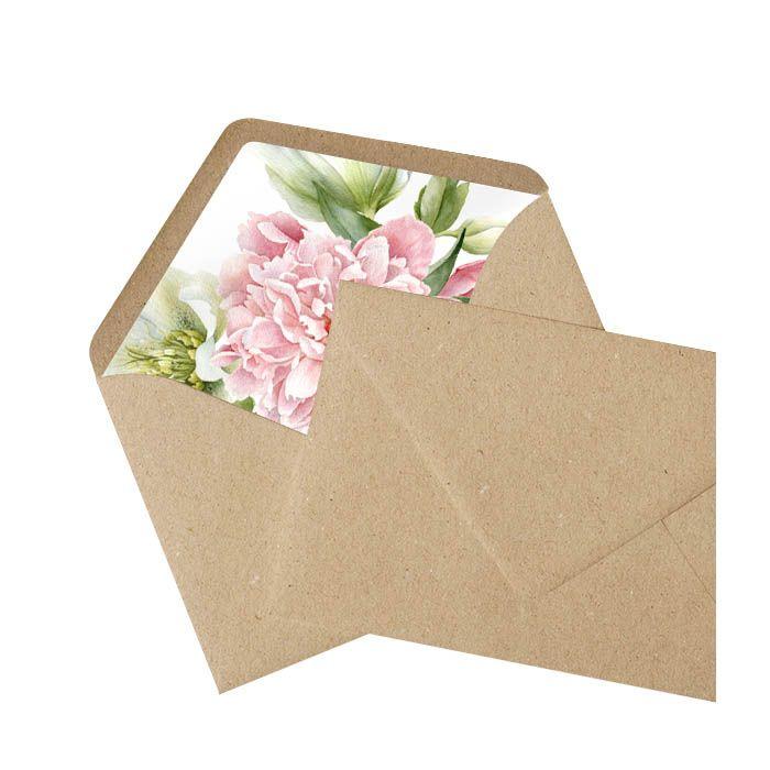 Kraftpapier Briefumschlag Mit Bedrucktem Inlay Pfingstrosen