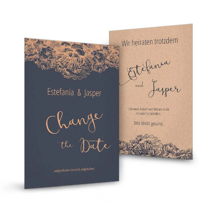 Change the Date Karte in Blau mit kupferfarbenen Ornamenten