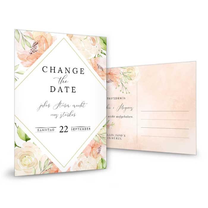 Change the Date Karte mit Aquarellblumen in Blush