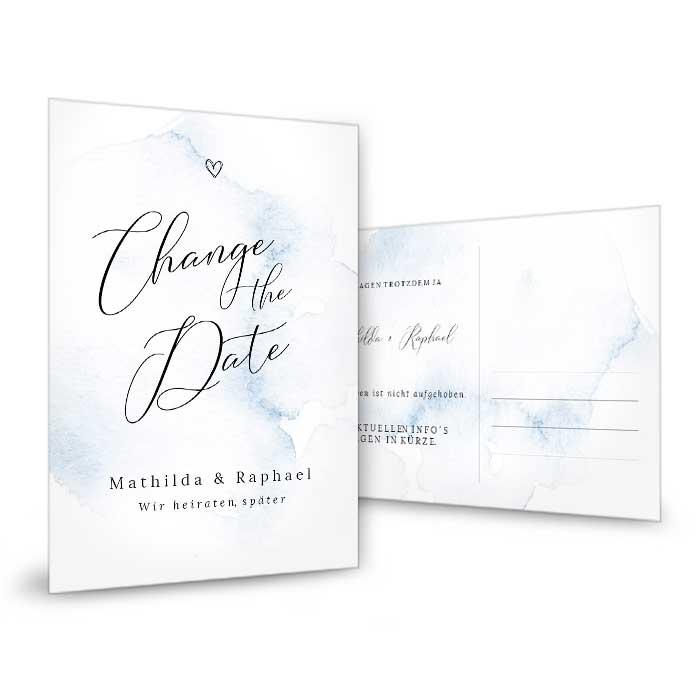 Change the Date Karte mit blauen Aquarell und Kalligraphieschrift