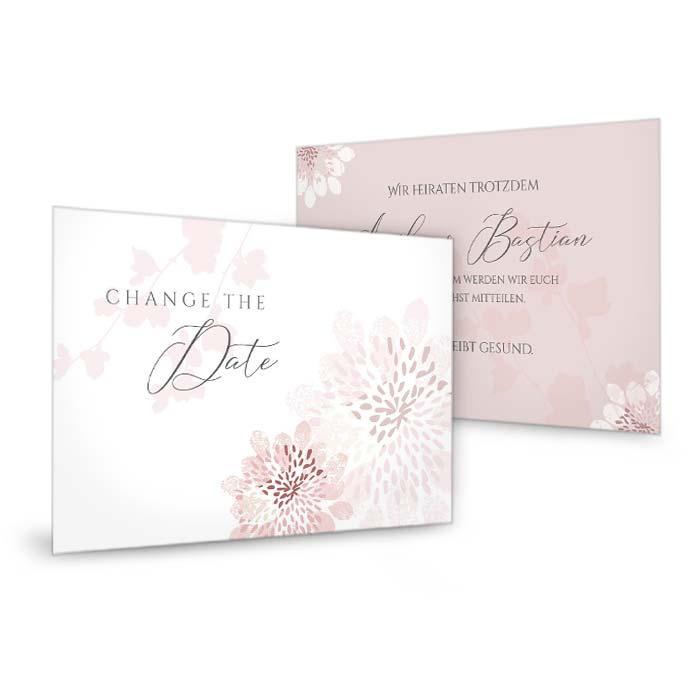 Change the Date Karte mit stilisierten Blumen in altrose