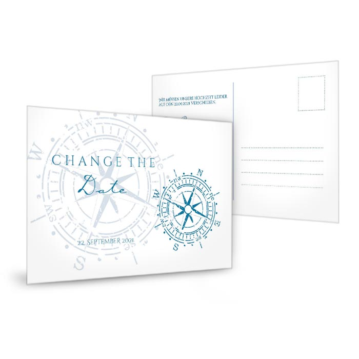 Maritime Change the Date Karte mit vintage Kompass in Blau