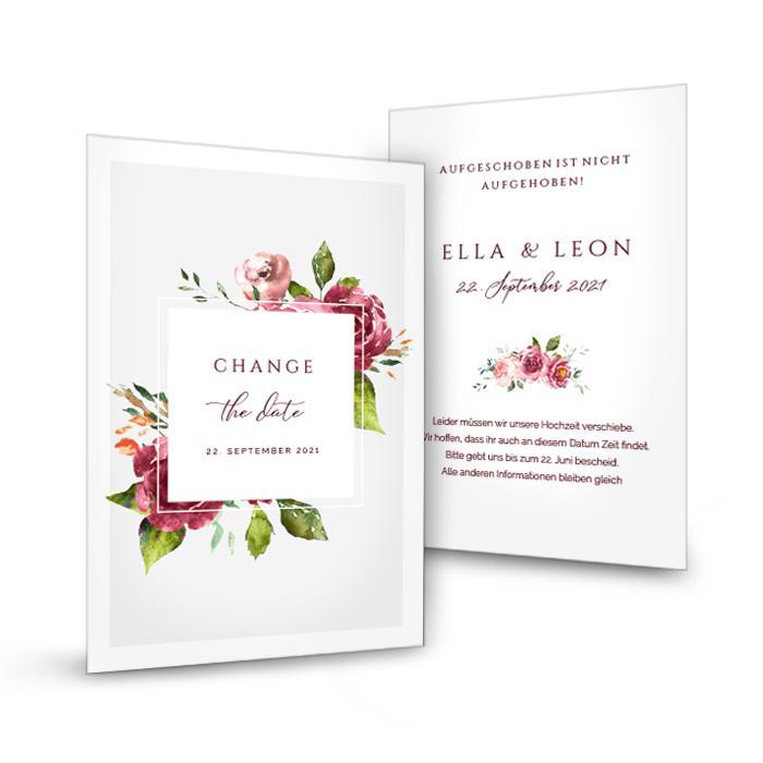 Change the Date Karte mit Aquarell Blumen in Bordeaux