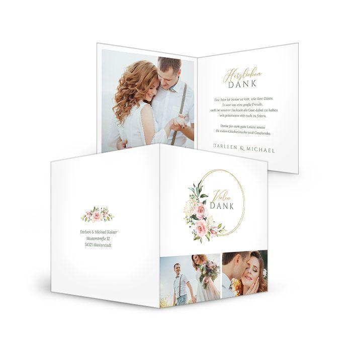 Danksagung für Ihre Hochzeit mit Goldreif und Aquarell Blumen ...