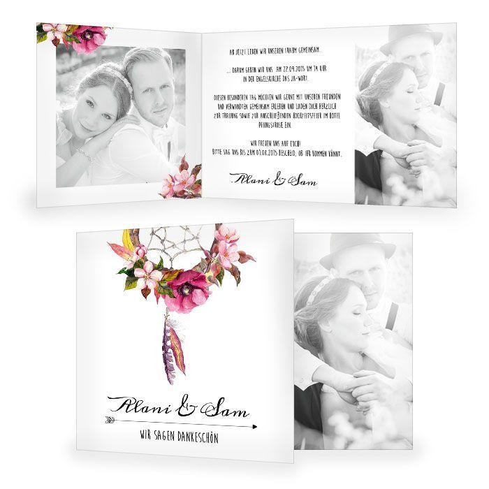 Danksagung Zur Hochzeit Im Boho Stil Mit Traumfanger Carinokarten