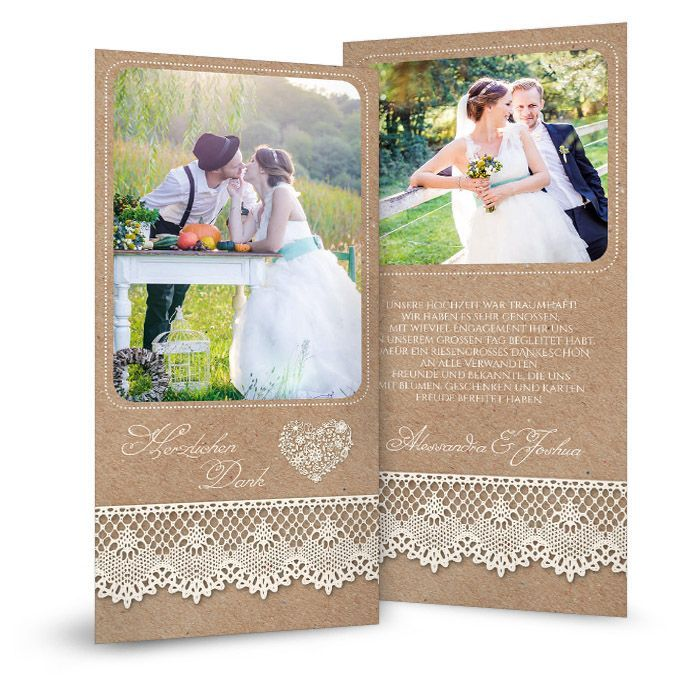 Danksagungskarte zur Hochzeit im rustikalen Landhausstil