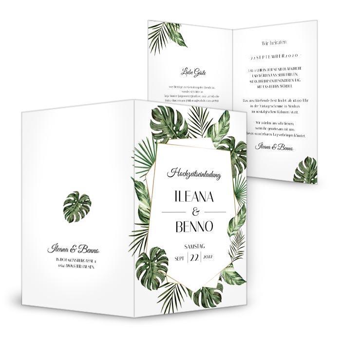 Einladung zur Hochzeit mit Greenery Leaves - Monstera