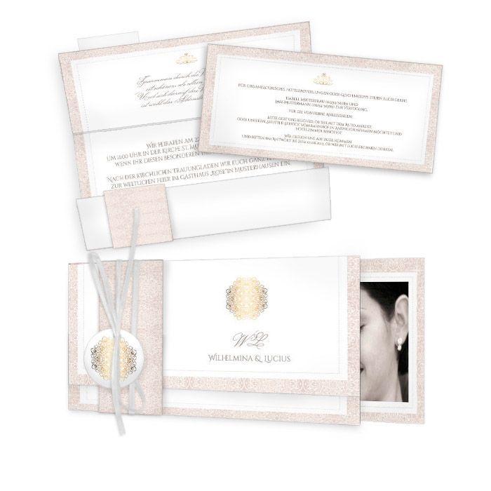 Elegante Hochzeitseinladung In Rose Und Gold Als Wickelfalz