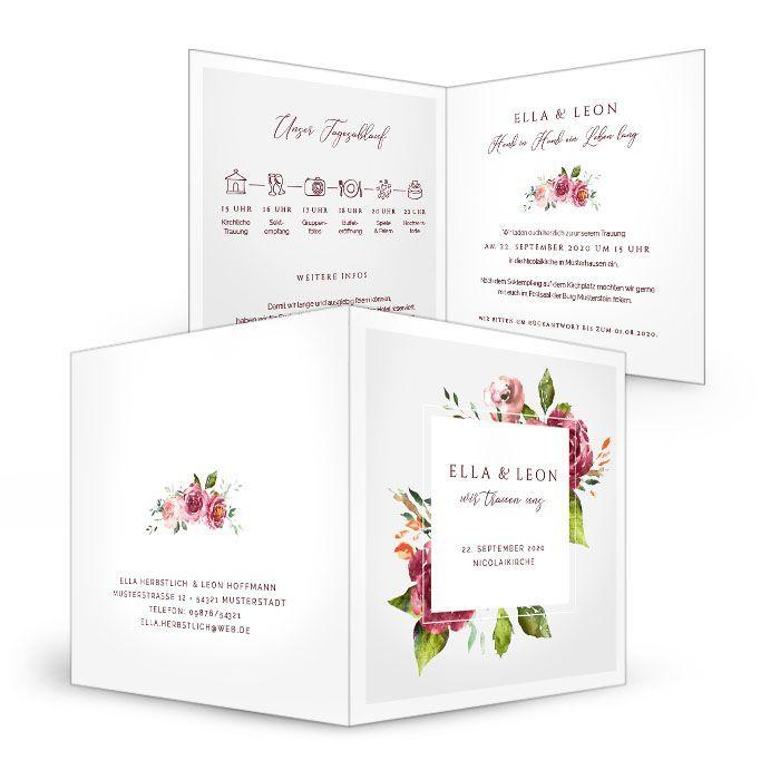 Einladung Zur Hochzeit Mit Herbstlichen Watercolor Blumen Carinokarten