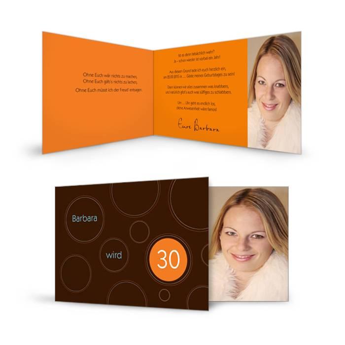 geburtstagskarte in braun und orange mit foto cari okarten. Black Bedroom Furniture Sets. Home Design Ideas