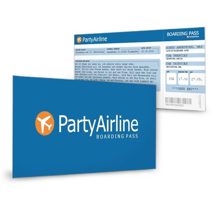 geburtstagskarte flugticket in blau f r die party airline. Black Bedroom Furniture Sets. Home Design Ideas