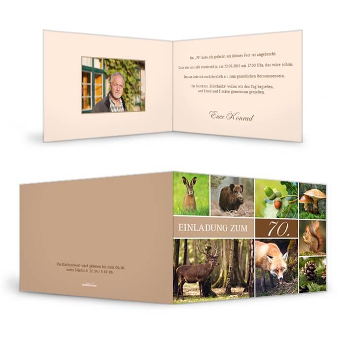 Einladungskarte zum Geburtstag im Jagdstil mit vielen Fotos