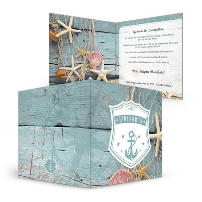 Maritime Geburtstagseinladung Mit Muscheln Und Anker Carinokarten