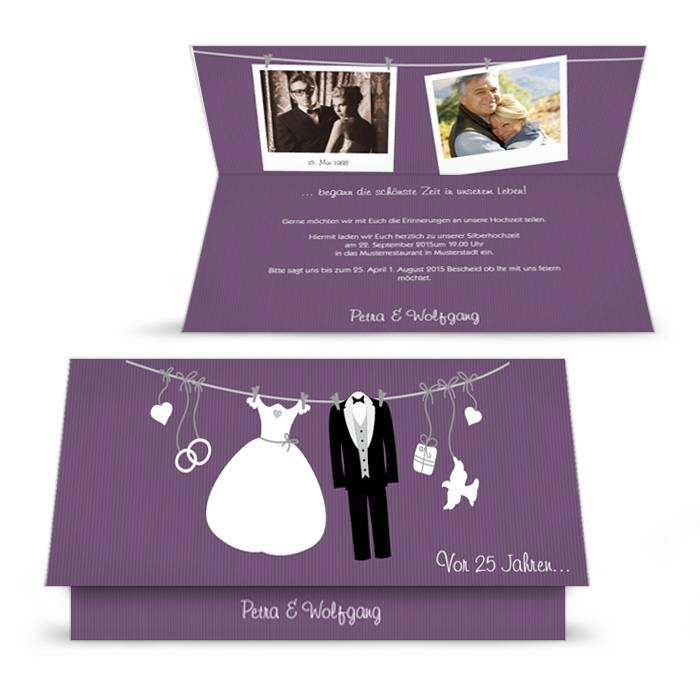 Witzige einladung zur silberhochzeit in lila und polaroid - Polaroid karten ...