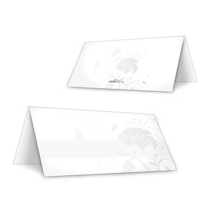 tischkarten zur silberhochzeit mit floralem muster in grau. Black Bedroom Furniture Sets. Home Design Ideas