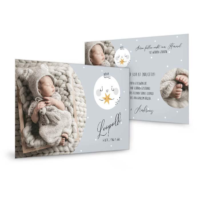 Einzigartige Babykarte mit Sternen und Fotos von Ihrem Liebling