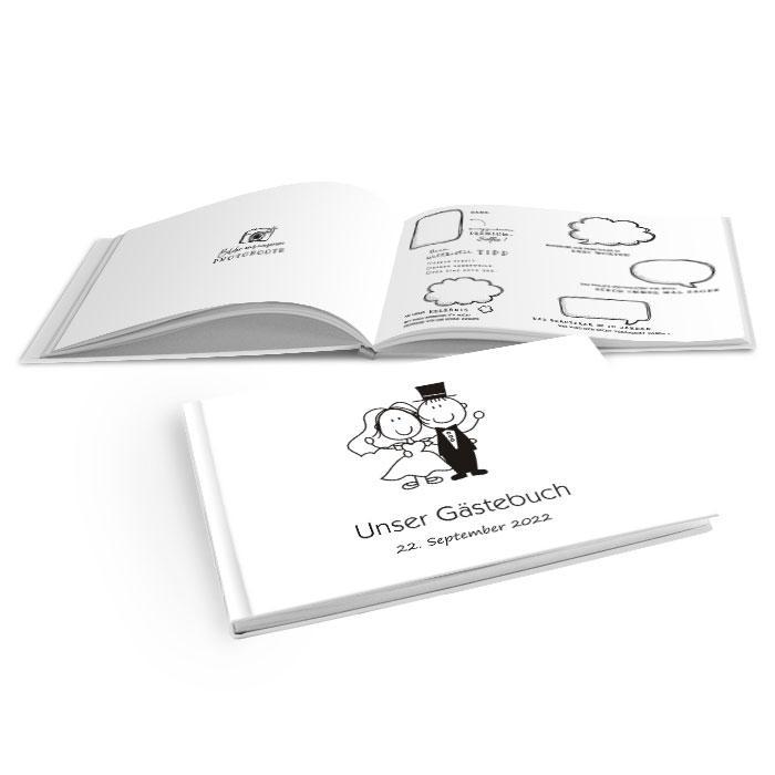 Hardcover Gästebuch mit Karikatur Brautpaar