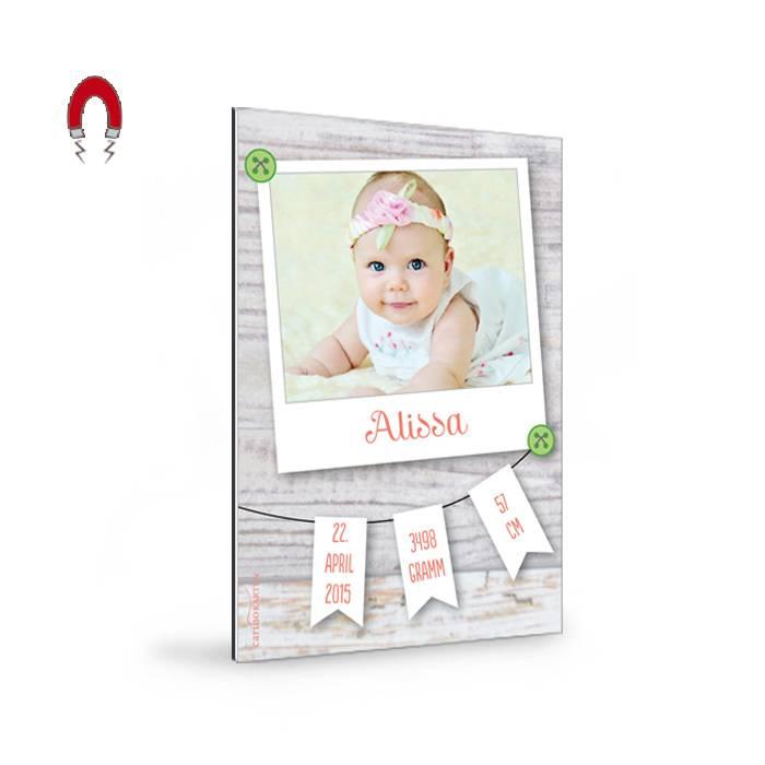 Geburtskarten magnet mit foto im polaroid stil und - Polaroid karten ...