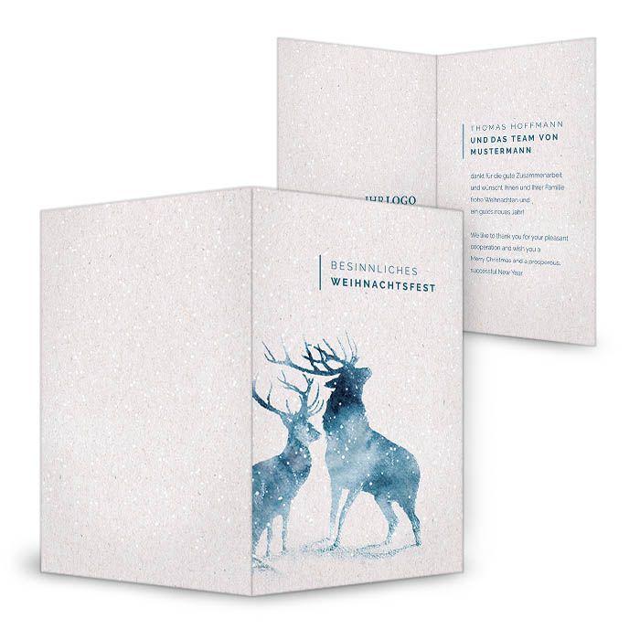 gesch ftliche weihnachtskarte mit aquarell hirschen in. Black Bedroom Furniture Sets. Home Design Ideas