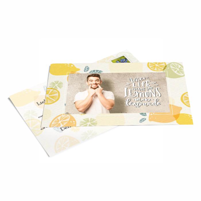 Gibt dir das Leben Zitronen - Grußkarte mit Foto und Spruch - online gestalten - weltweit vers