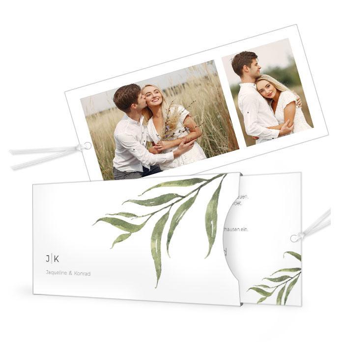 Greenery Hochzeitseinladung Einsteckkarte mit Aquarellzweig