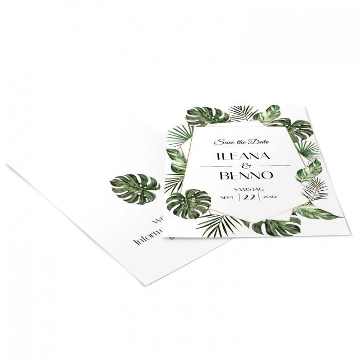 Greenery Save the Date Karte im Dschungeldesign
