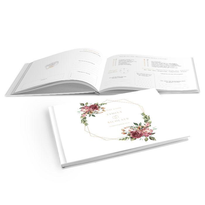 Hardcover Gästebuch Hochzeit mit goldenen Rahmen und Rosen in bordeaux