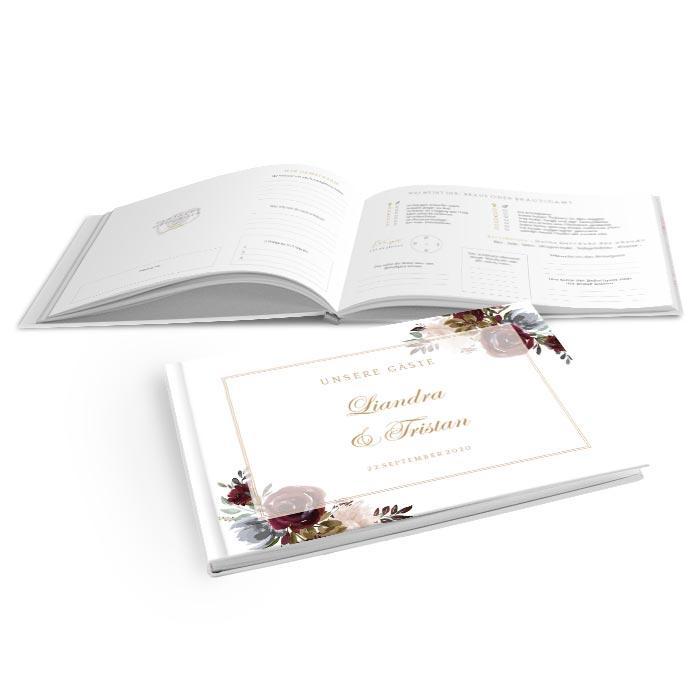 Hardcover Gästebuch zur Hochzeit mit Aquarell Blumen in Burgunder