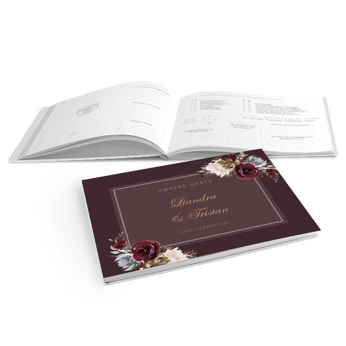 Hardcover Gästebuch zur Hochzeit mit Aquarellblumen in Bordeaux