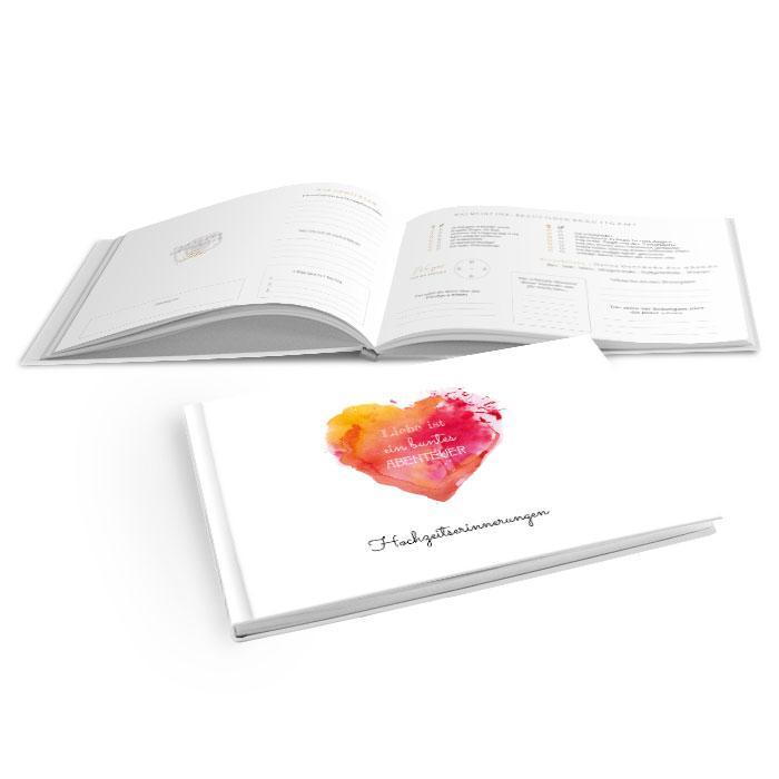 Hardcover Gästebuch zur Hochzeit mit Aquarellherz in Rot und Orange