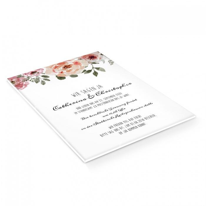 Elegante Hochzeitseinladung auf Acrylglas mit Rosen