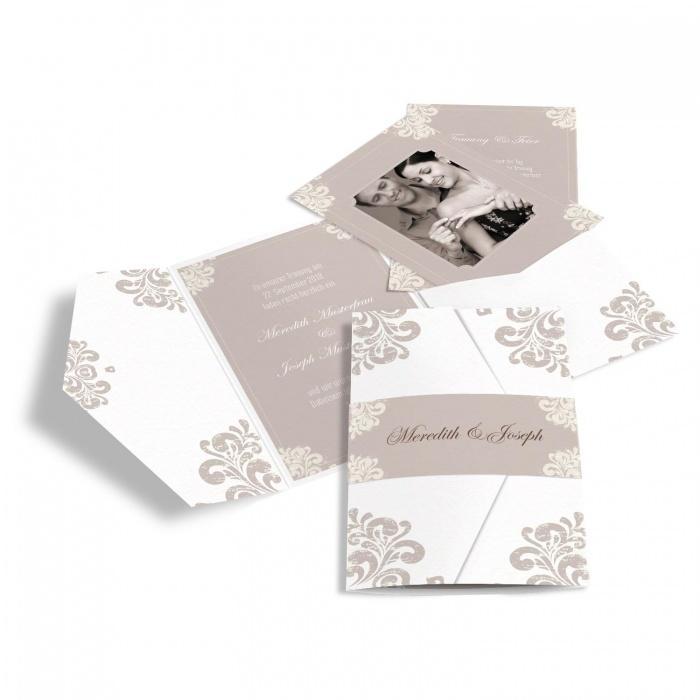 Edle Hochzeitseinladung mit barockem Muster als Pocket Fold