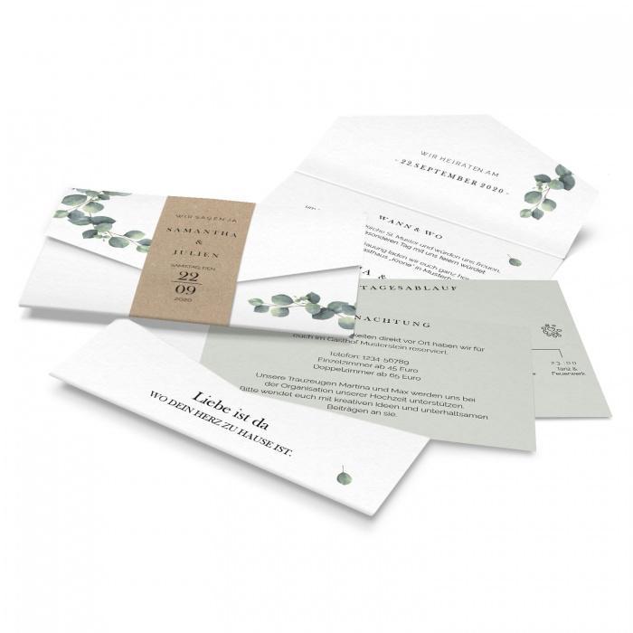 Hochzeitseinladung als Pocketfold mit Eukalyptus
