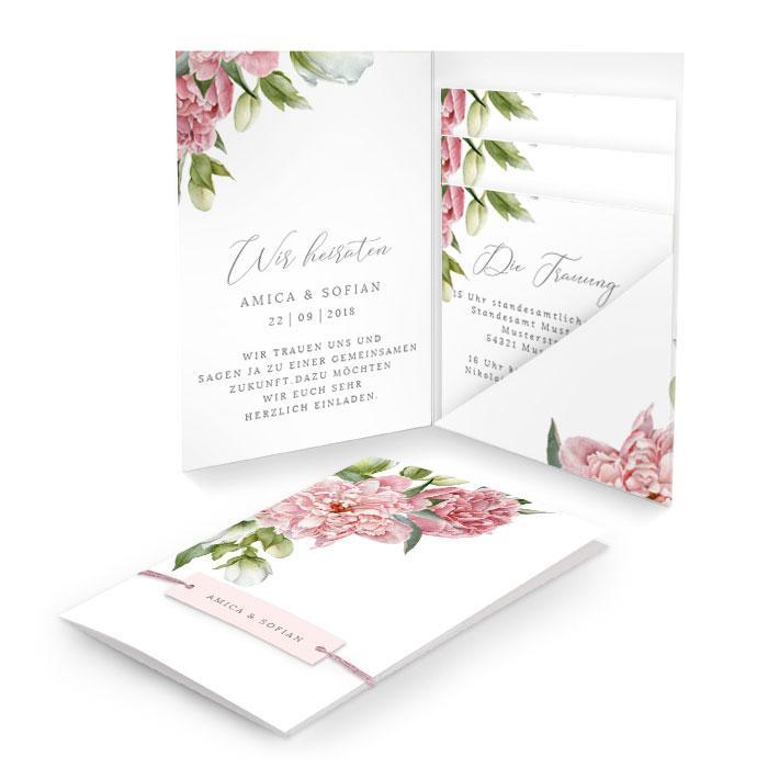 Hochzeitseinladung als Pocketfold mit Pfingstrosen