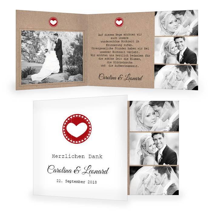 Danksagung Zur Hochzeit Im Kraftpapier Design Und Herz Carinokarten