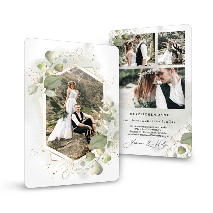 Hochzeitsdanksagung mit Foto im geometrischen Rahmen und Eukalyptus
