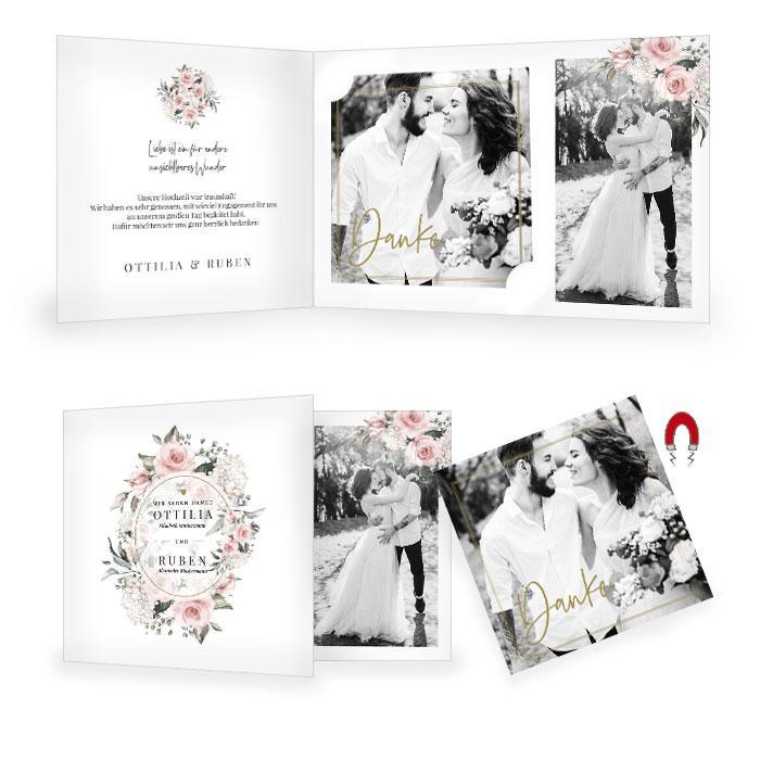 Hochzeitsdanksagung mit Foto Magnet und Aquarellrosen in Rosa