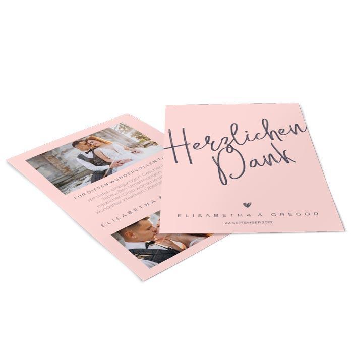 Hochzeitsdanksagung mit Kalligraphieschrift und Ihren eigenen Fotos in Rosa