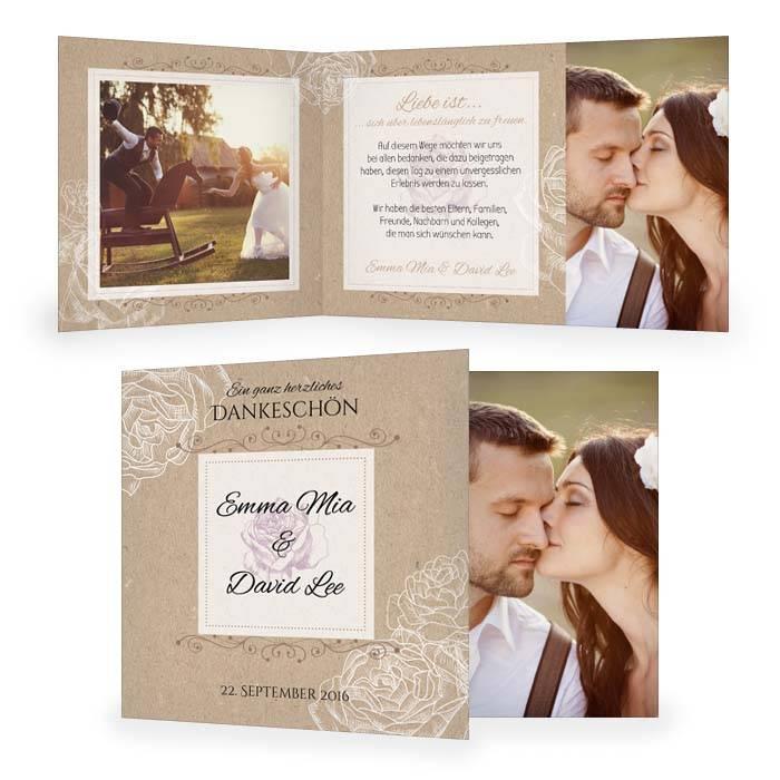 Danksagung Zur Hochzeit In Kraftpapieroptik Mit Rosen Carinokarten
